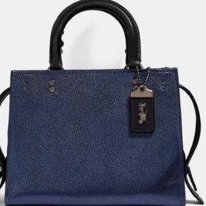 Coach Rogue bag, metallic navy, snakeskin detail